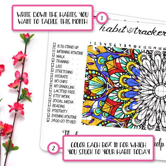 Habit Tracker Coloring Sticker • Mandala Coloring Page • Bullet ...
