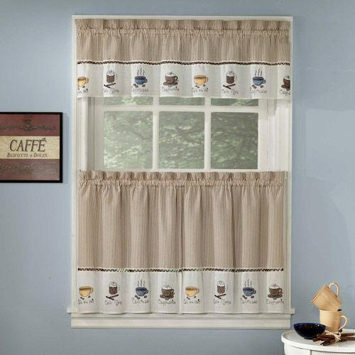 Java Coffee Theme Embroidered Tier Curtains And Valances By Lorraine Home Fashions
