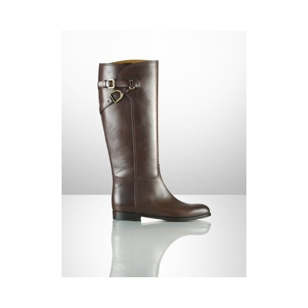 Ralph Lauren Collection Sachi Calfskin Riding Boot via Polyvore
