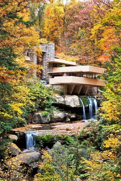 Wright's 1953 masterpiece, Fallingwater, a residence in rural southwestern Pennsylvania | archdigest.com