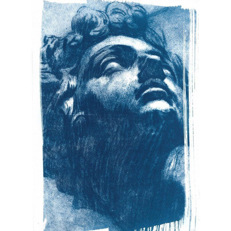 Tintoretto Head Of Giuliano De Medici Drawing Cyanotype Print On