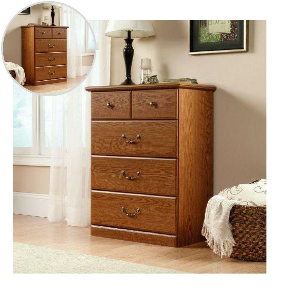 drawer dresser chest carolina oak finish glide metal runners home