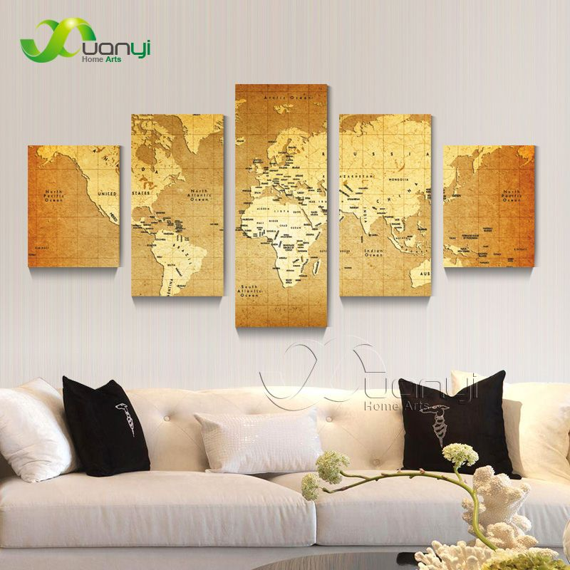 Wall Picture 5 piece Abstract Global World Map Picture Painting ...