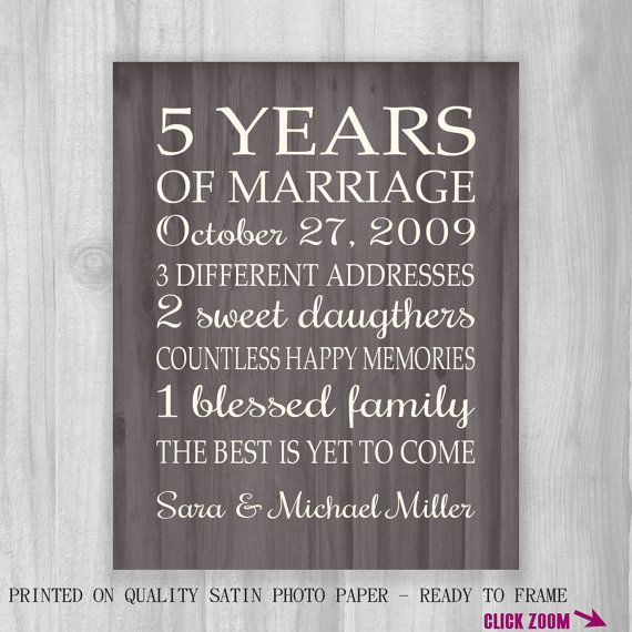 5th Anniversary Gift Print Wood 5 Years 10, 15, 20, 25