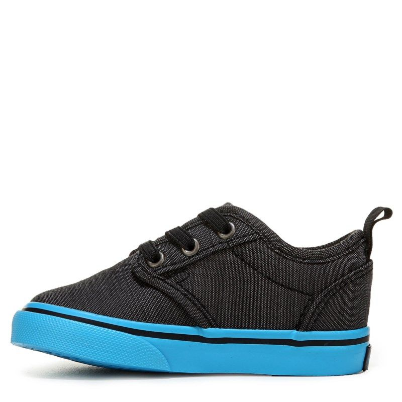 Vans Kids  Atwood Toddler Shoes (Black Blue )  ef068e7118