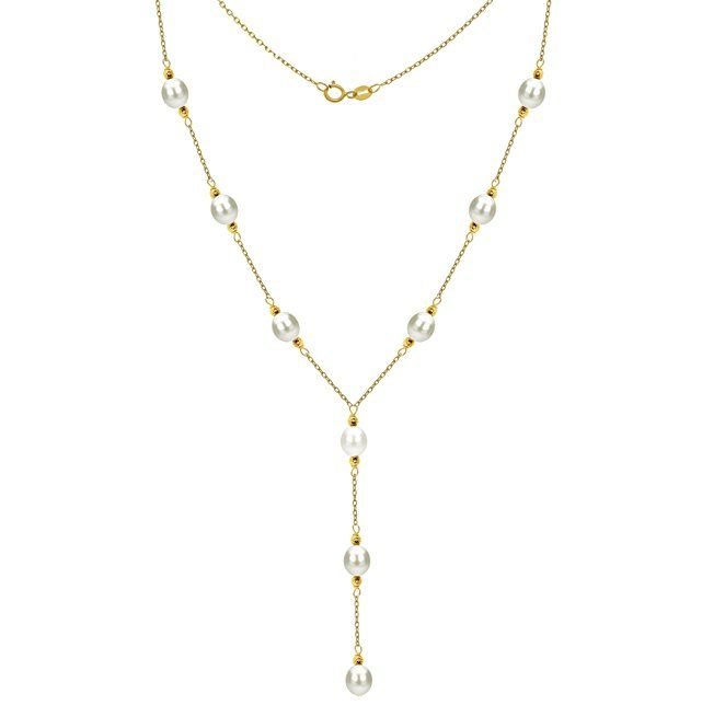 """14k Yellow Gold 8-8.5mm White Freshwater Cultured Pearl Station Necklace, 16"""" + 3"""" Drop"""