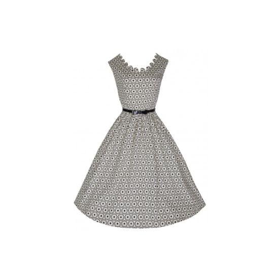 Lindy Bop Daria Crochet Print Retro šaty ve stylu 50. let. šaty ve stylu 1a294aa697
