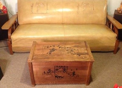 Rare 1950s Cowboy Western Wagon Wheel Couch Rocker Chair W Toy Box Chest 08 05 2013 Vintage Western Decor Rustic Cowboy Decor Western Furniture