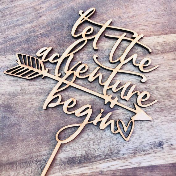 CLEARANCE 1 ONLY Timber Let The Adventure Begin Cake Topper Birthday Cake Topper Baby Shower Cake Decorating Personalised Topper Boho CHB  CLEARANCE 1 ONLY Timber Let The...