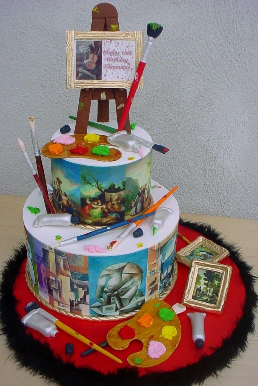 Cake Art Black Edible Colour : Picasso & Goya Birthday Cake - 6 & 10