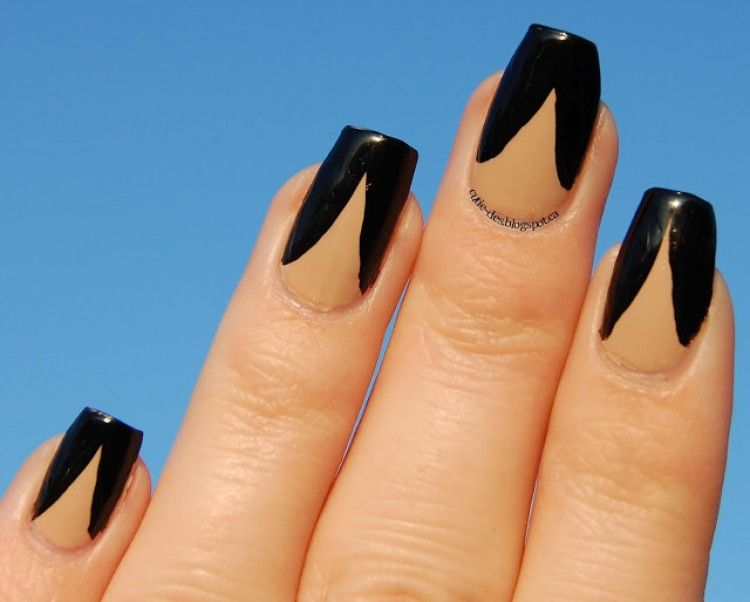 Manicure Manifesto: Shimmering Black and Nude Stamped Nail Art