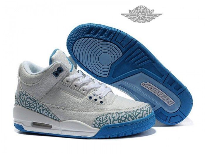 best service 7d27f 0aa3f Air Jordan 3 Retro - Basket Jordan Pas Cher Chaussure Pour Femme Blanc Bleu  Air Jordan 3 Retro Femme - Authentique Nike chaussures 70% de r  duction ...