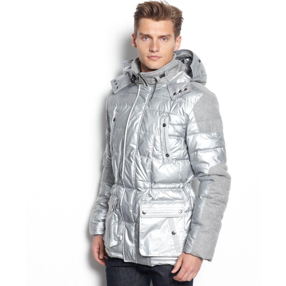 Calvin Klein Metallic Macys Holiday Exclusive Two Tone Puffer Coat For Men Puffer Coat Mens Coats Calvin Klein [ 1000 x 1000 Pixel ]