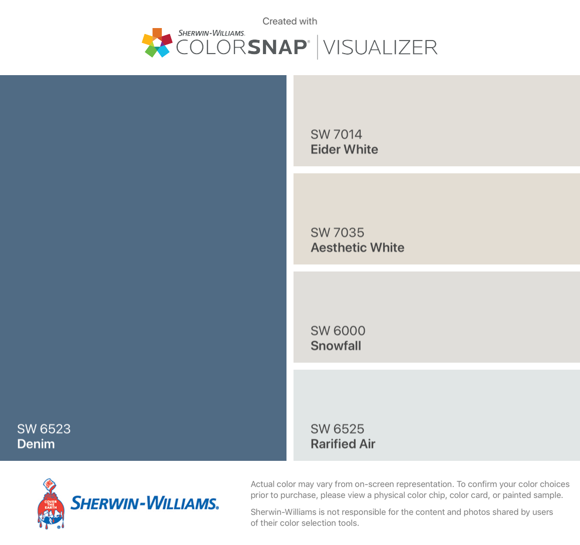 I Found These Colors With Colorsnap Visualizer For Iphone By Sherwin Williams Denim Sw 6523 Eider White Sw 7 Color Sherwin Williams Sherwin William Paint