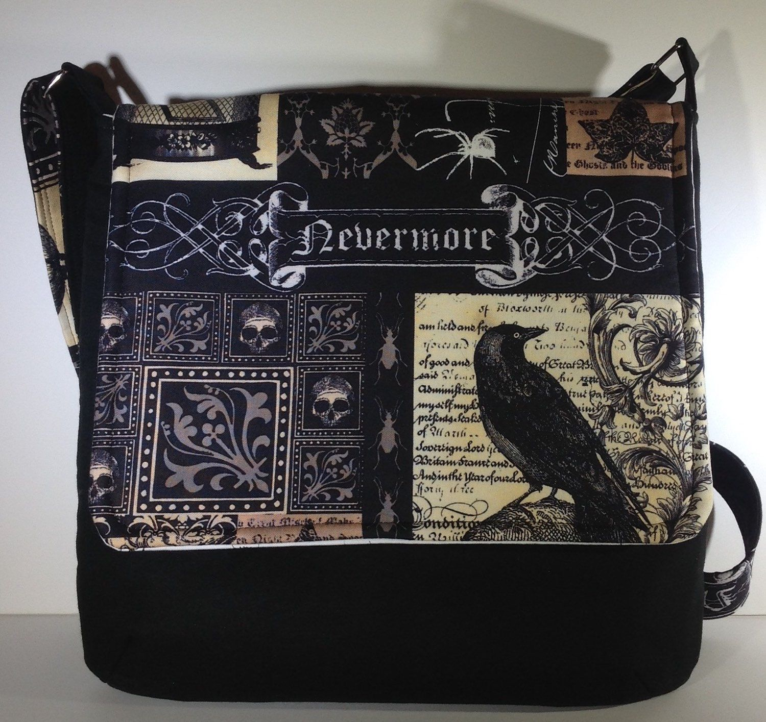 287d6eb91434 Nevermore Edgar Allan Poe crossbody purse raven cross body bag gothic  skulls messenger bag spider and fly sling bag goth gift for her (42.00 USD)  by ...