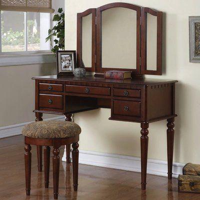 Behrendt Vanity Set With Mirror In 2020 Bedroom Vanity Set Wood Vanity Vanity Table Set