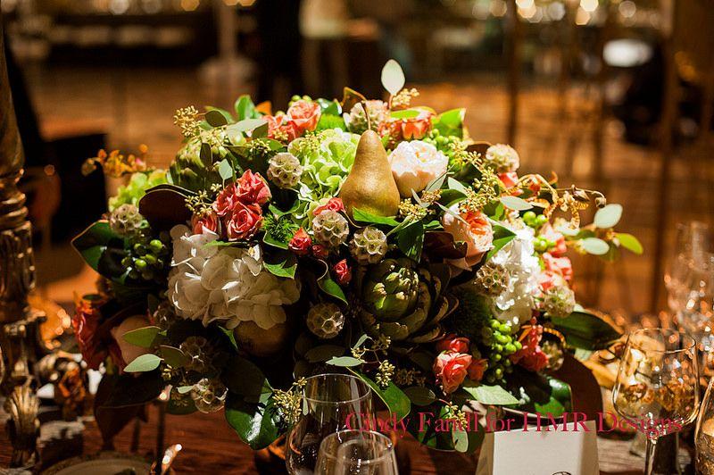 Pear & artichoke details for a dynamic centerpiece #weddings #centerpieces #blisschicago