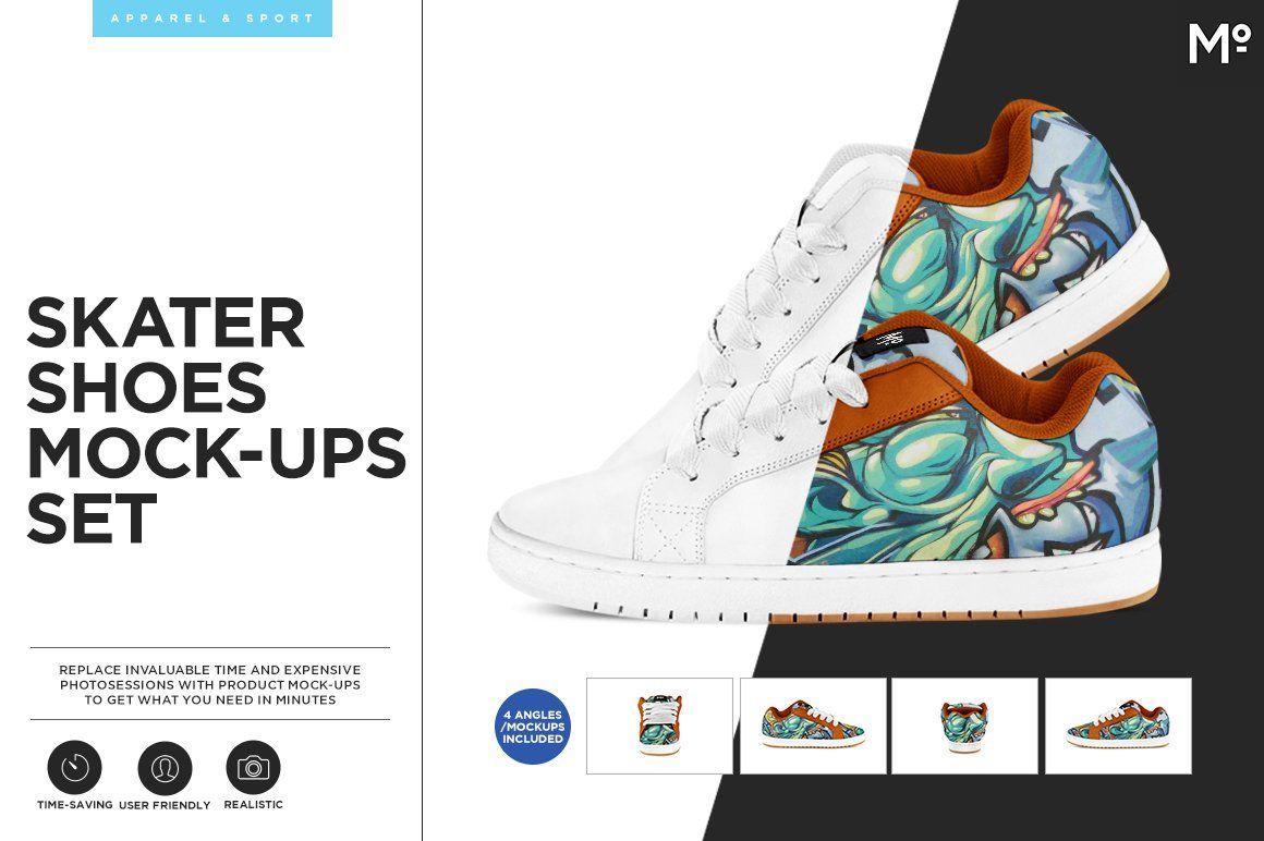 Download Skater Shoes Mock Ups Set Skater Shoes Mockup Wellness Design