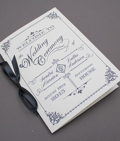 DIY Ornate Vintage #wedding Program Booklet Template. Add Your Text And  Print At Home  Booklet Template