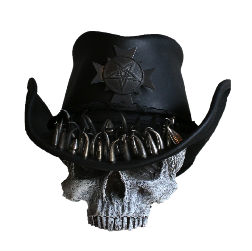 559691e66 CUSTOM MADE LEATHER ROCK SPIKED MINISTRY COWBOY HAT WITH PENTAGRAM ...