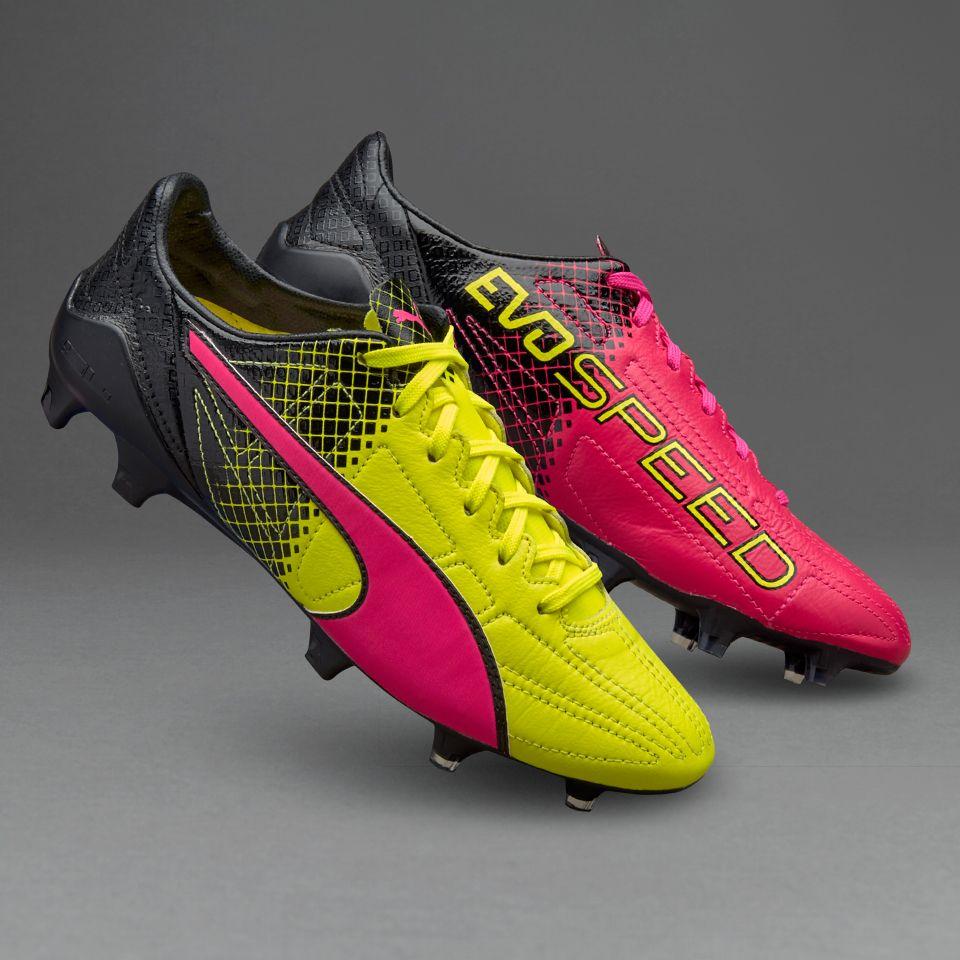 Puma evoSPEED II SL Leather Tricks FG - Mens Shoes - Firm Ground - Pink Glo/Safety  Yellow/Black
