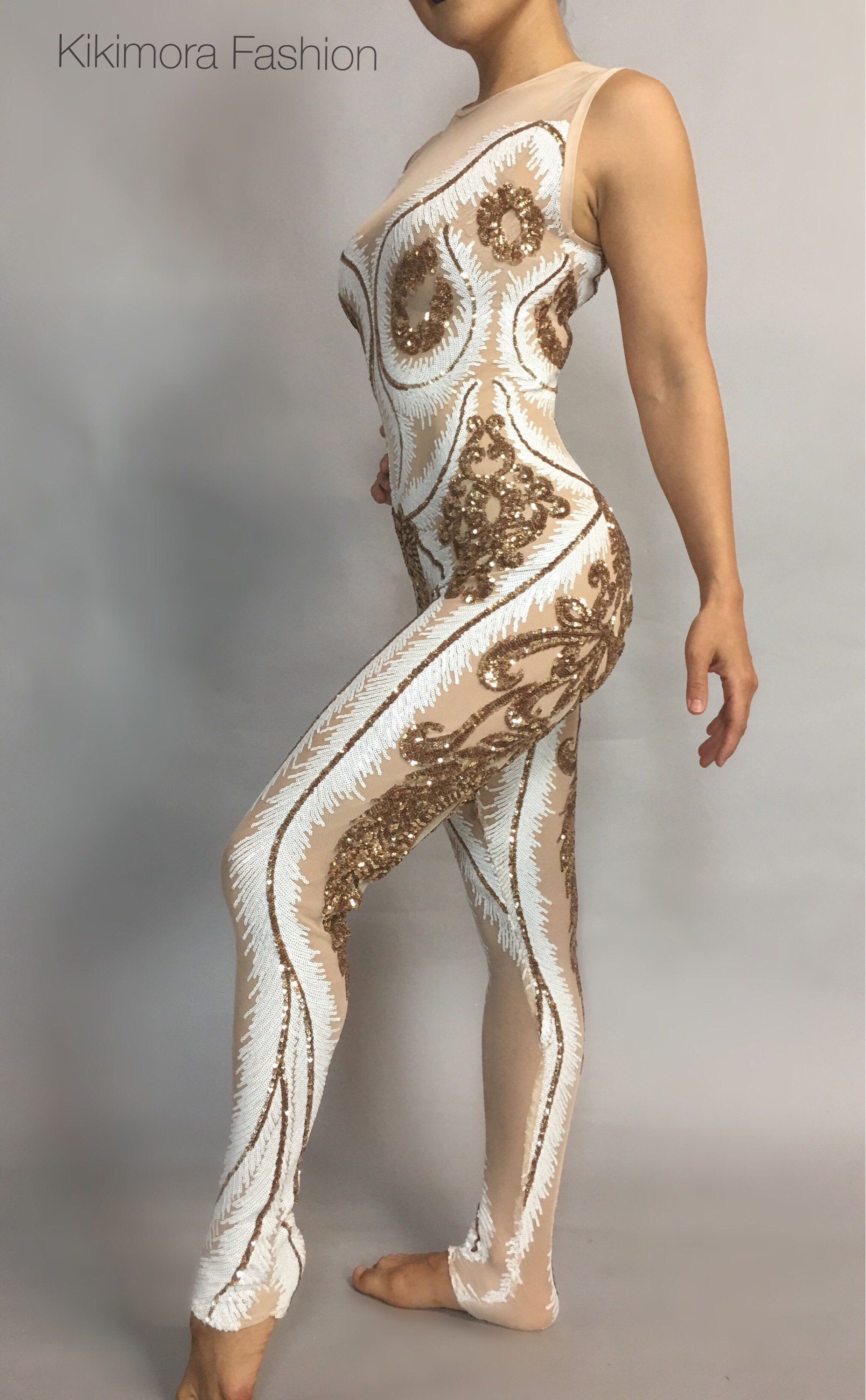 bf7d1588dfcf5 Sequin White/Gold Catsuit Costume, contortionist , gymnastic, dance ...