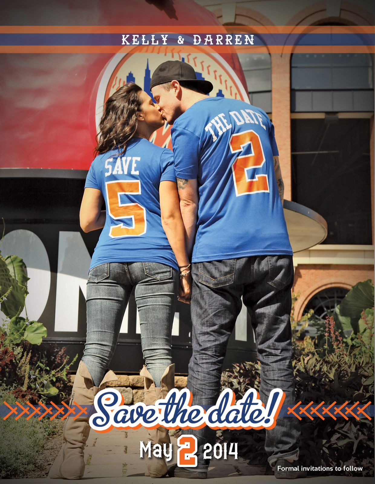 Save The Date Baseball Wedding One In A Mets Jersey And One In A