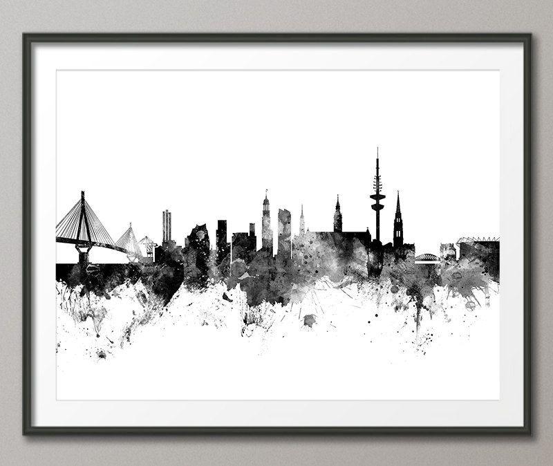 Hamburg Skyline, Hamburg Germany Cityscape Art Print (2652)