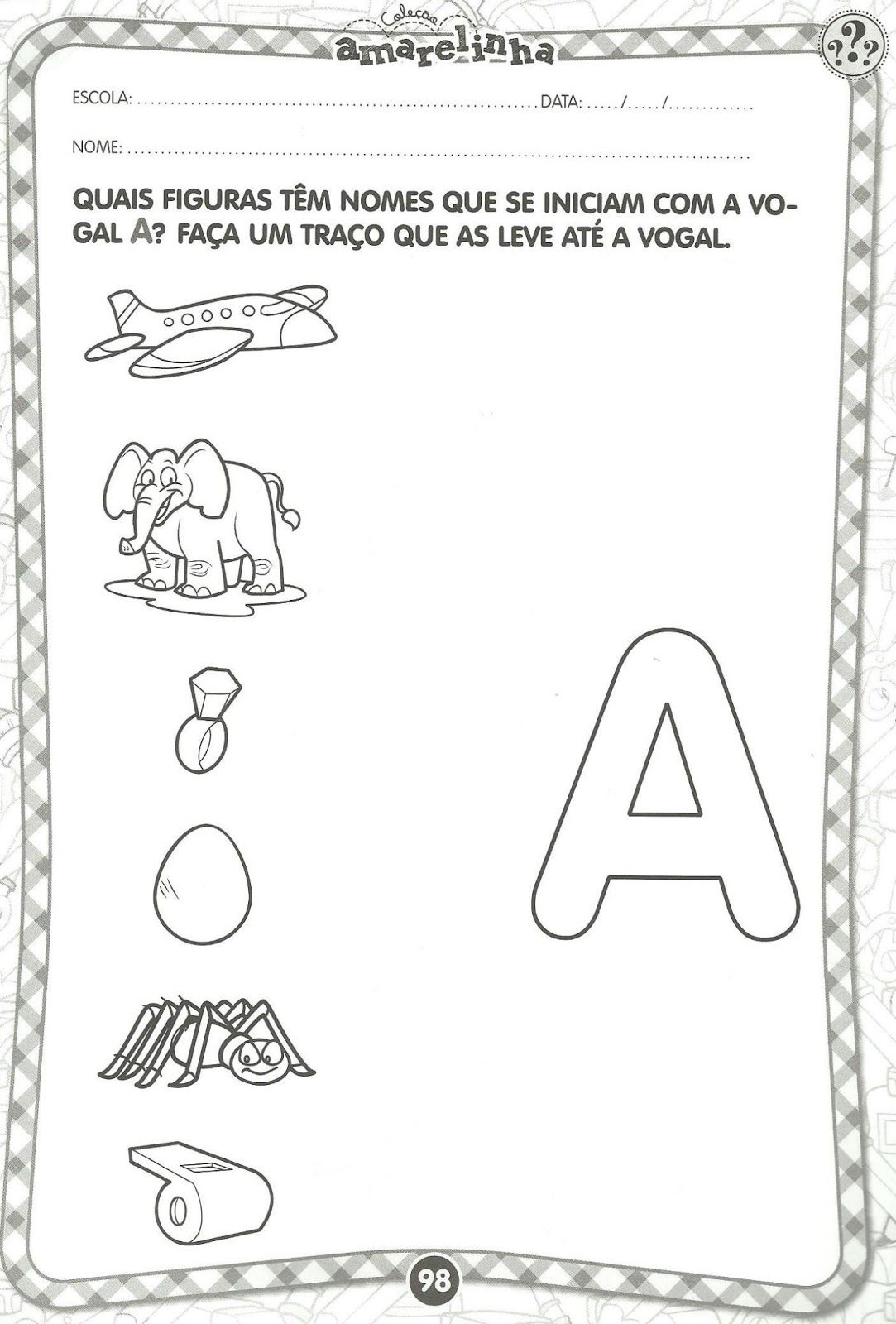 Atividades Educativas Com Vogais Com Imagens Linguagem Oral E