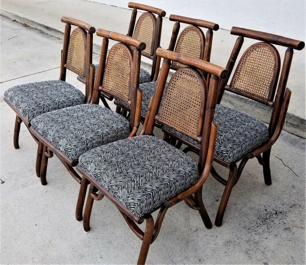 6 True Vintage Bamboo Bentwood Rattan Cane Back Upholstered Zebra