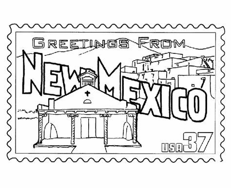 New Mexico State Stamp Coloring Page Coloring Book Pages