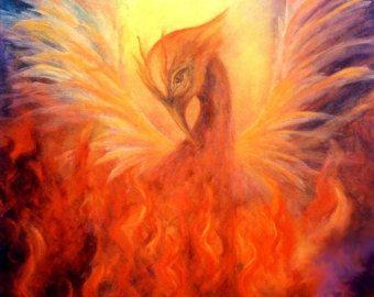 Celestial Fire Night Skyscape Original Art by MarinaPetroFineArt |  Producción artística, Ave fenix, Pintura de arte