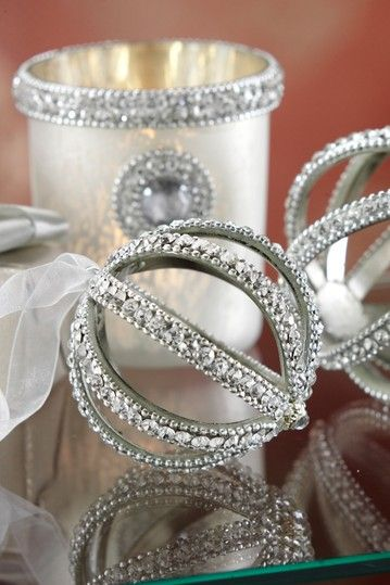 Jeweled Medium Ball Ornament with Ribbon Have A Holly Jolly