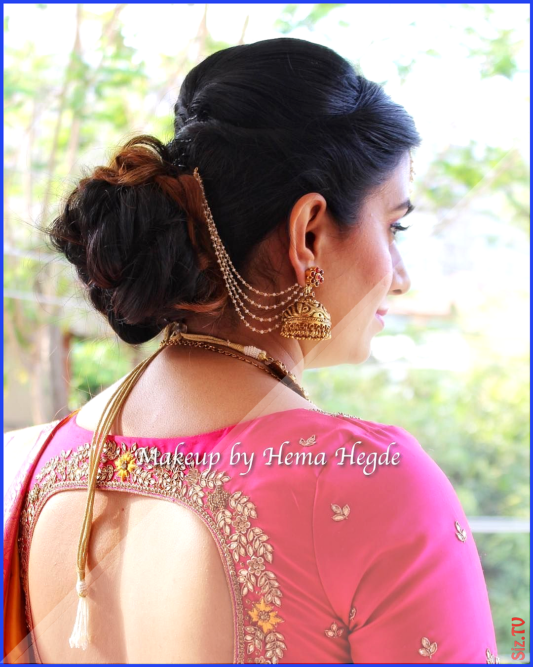 South Indian Wedding Indian Wear Pink And Yellow Silk Saree Traditional South In Messybun Saree Hairstyles Wedding Saree Indian Indian Wedding Hairstyles
