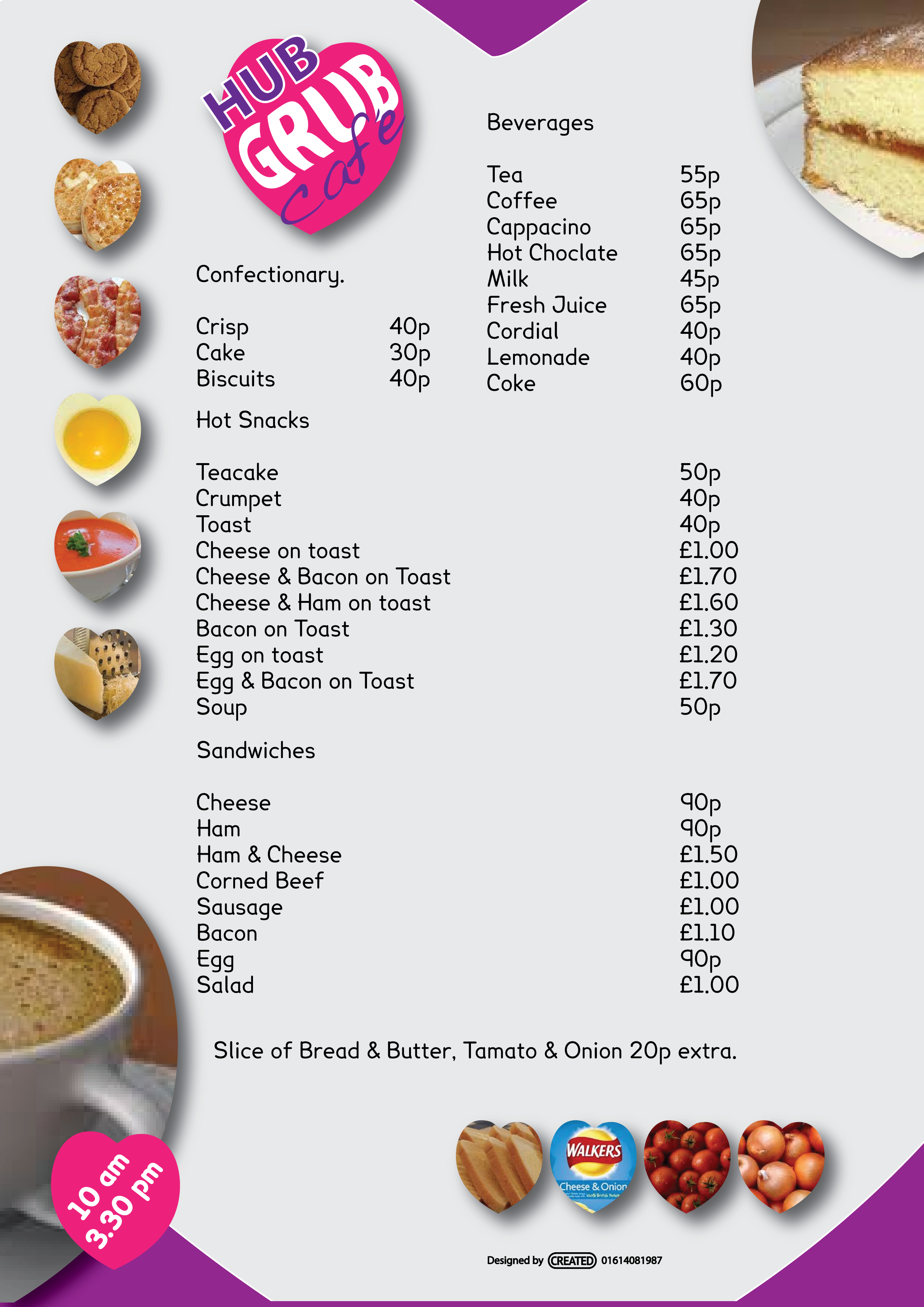 Menu for Community cafe, with use of a font easily read by Dyslexics and bad eye sight.