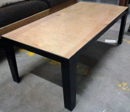 Vintage steel and wood coffee table made by Mike White.