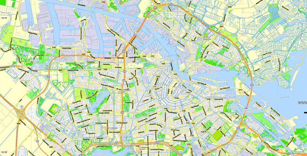 Amsterdam Herlands Printable Vector Street Full Atlas 49: Amsterdam Map Printable At Slyspyder.com