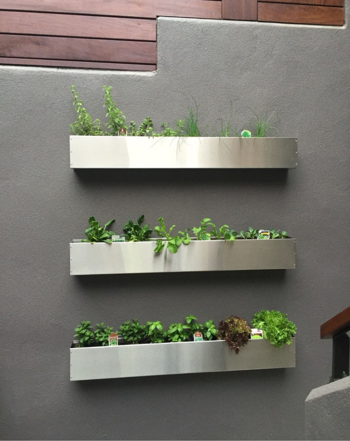 Outdoor Wall Hanging Planters Floating Stainless Steel Hanging Planter Box Succulent