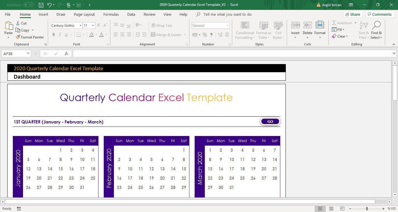 Quarterly Calendar 2020 Excel Template