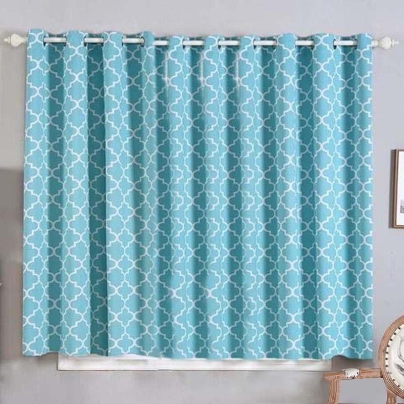 Lattice Print Curtains 2 Packs White Turquoise Trellis