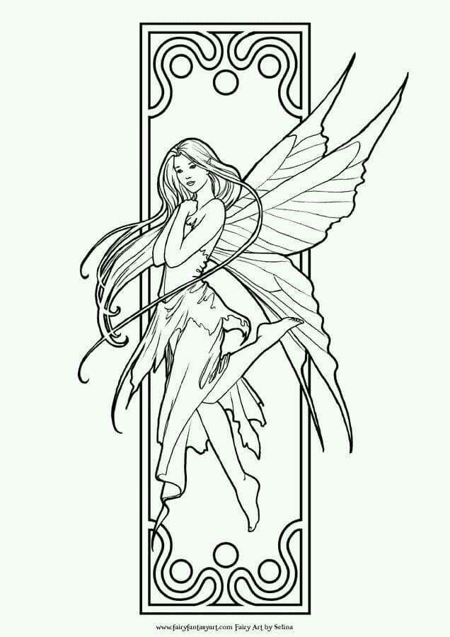 Fairy Coloring Page Fairy Coloring Pages, Fairy Coloring, Coloring Pages  For Grown Ups