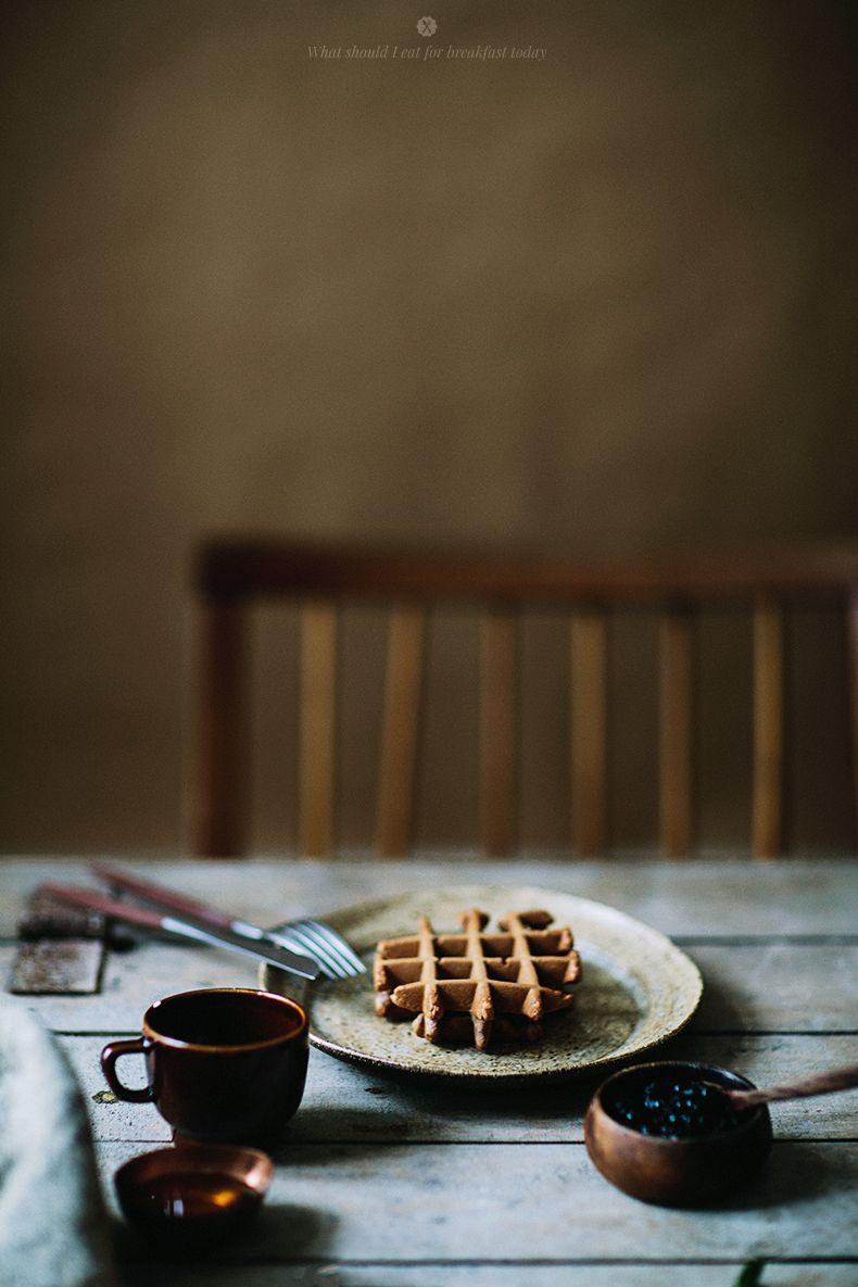 Chocolate waffles with ice creams and raspberry sauce / Marta Greber
