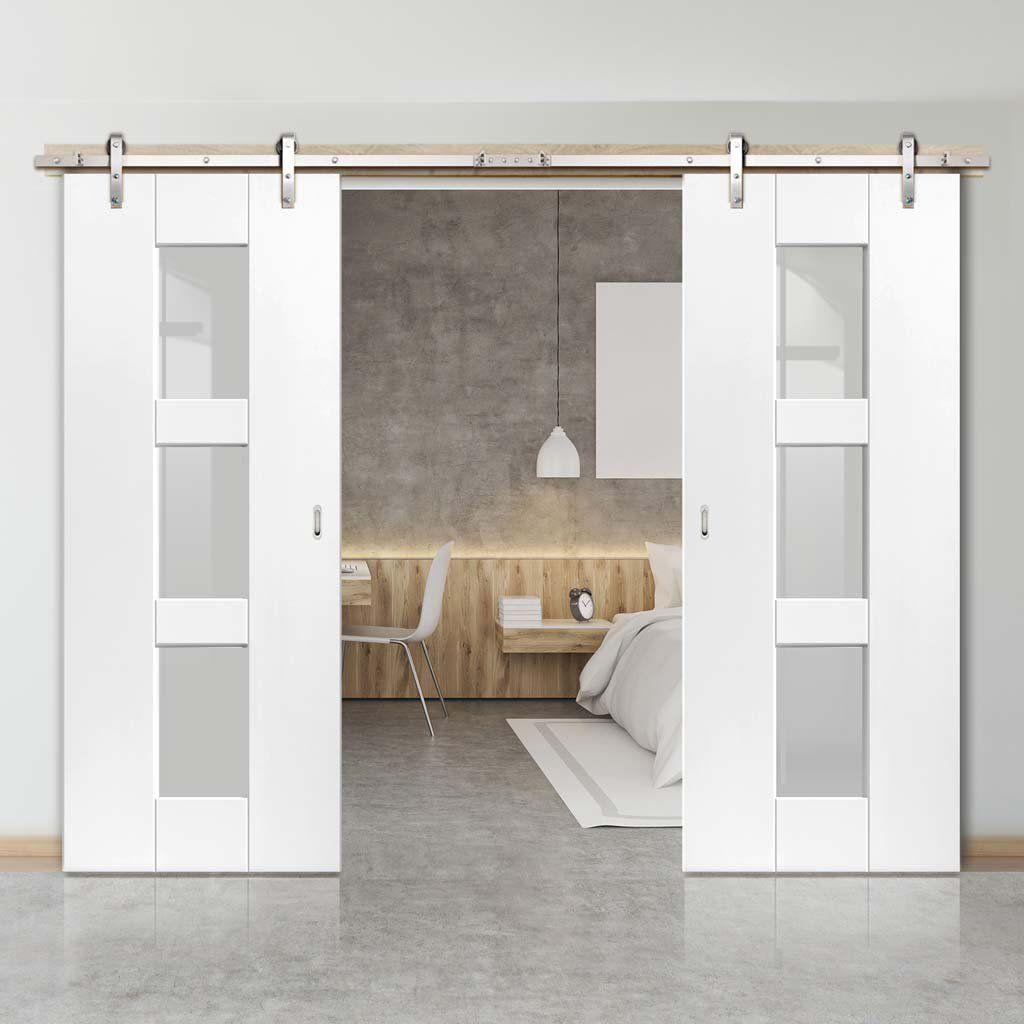 Double Sliding Door Track Geo White Doors Clear Glass