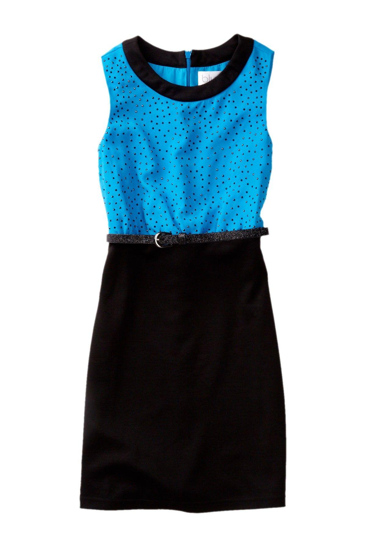 Ponte Jeweled Chiffon Dress (Big Girls)  Dress #Zipclosure #BeltKids