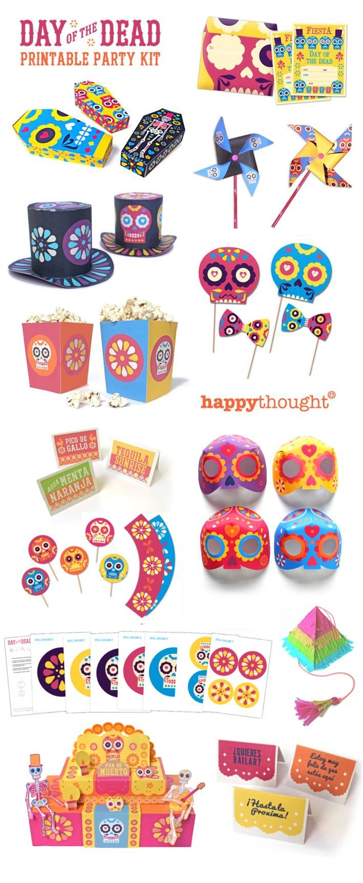 fantastic day of the dead party printables by happythought diadelosmuertos printables