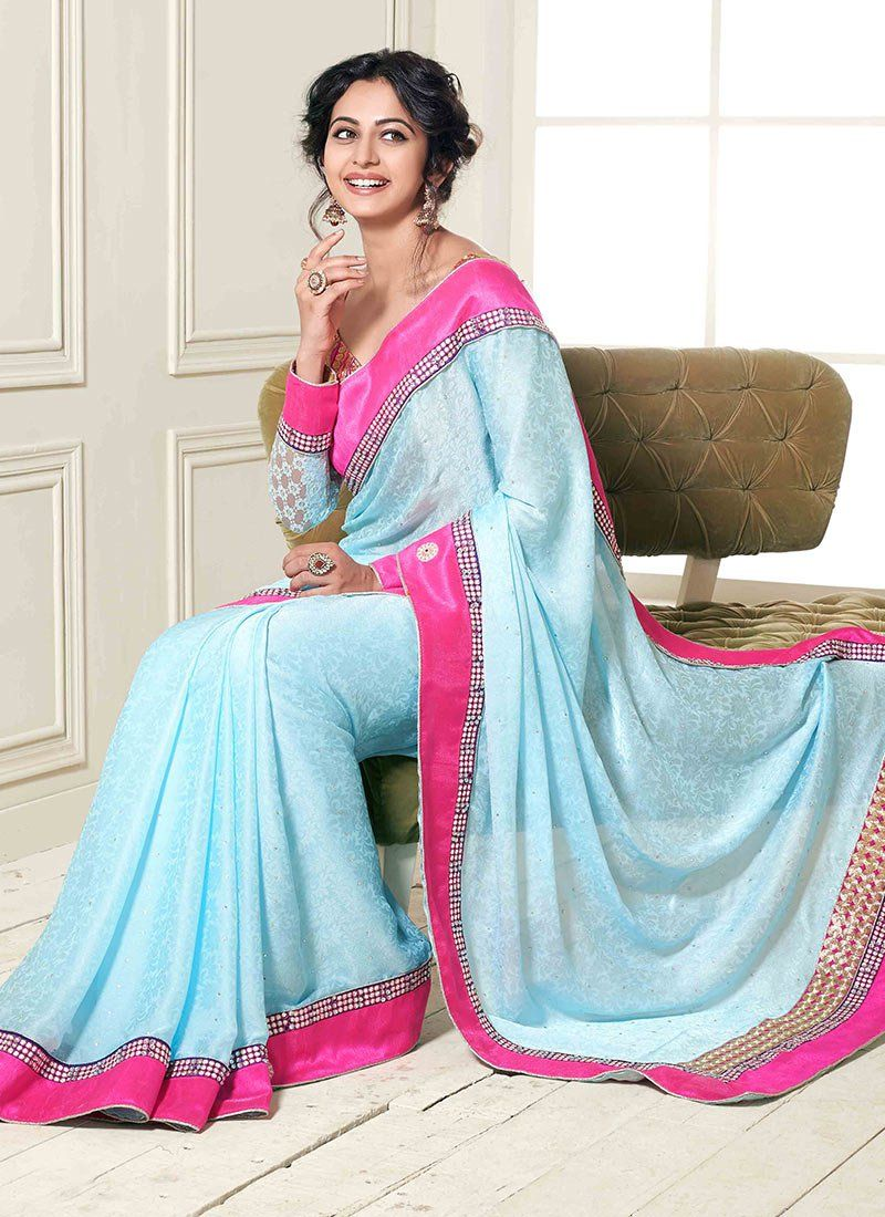 bc61951d878d05 Lovely baby blue   pink Saree