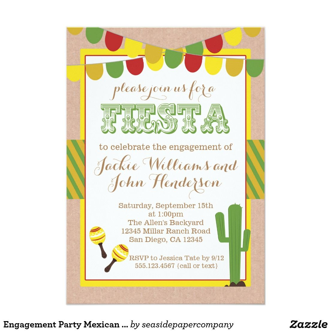 Engagement Party Mexican Fiesta Invitation   Wedding :Engagement ...