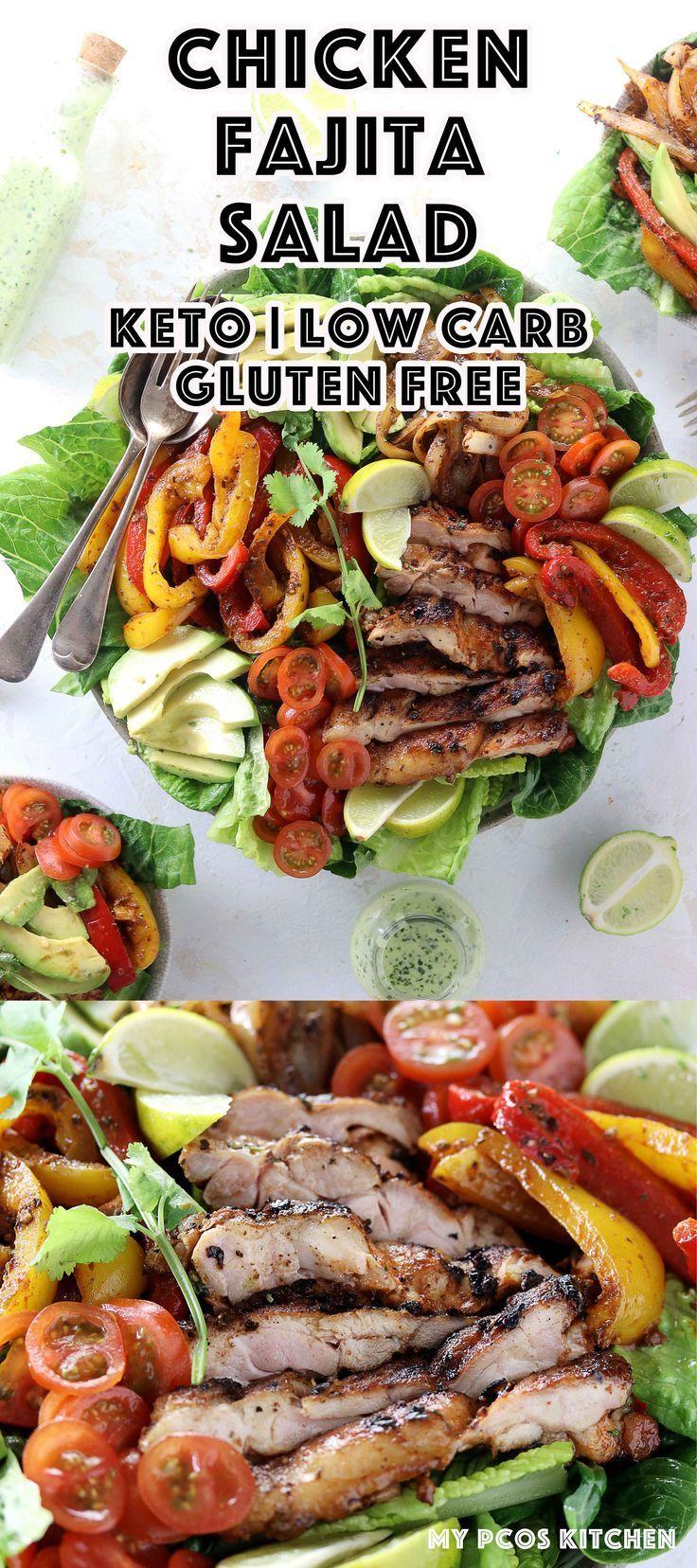 Keto Low Carb Chicken Fajita Salad My PCOS Kitchen A