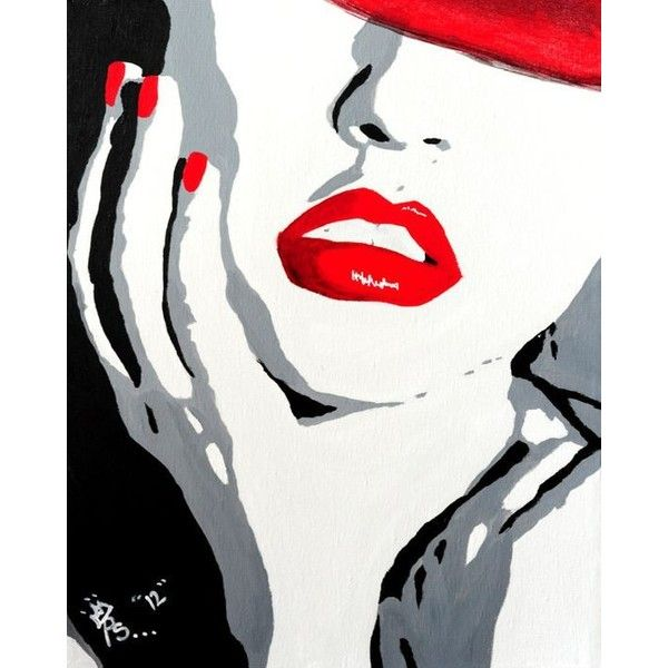 Pop Art Red Lips Painting Original Acrylic On Canvas Liked On