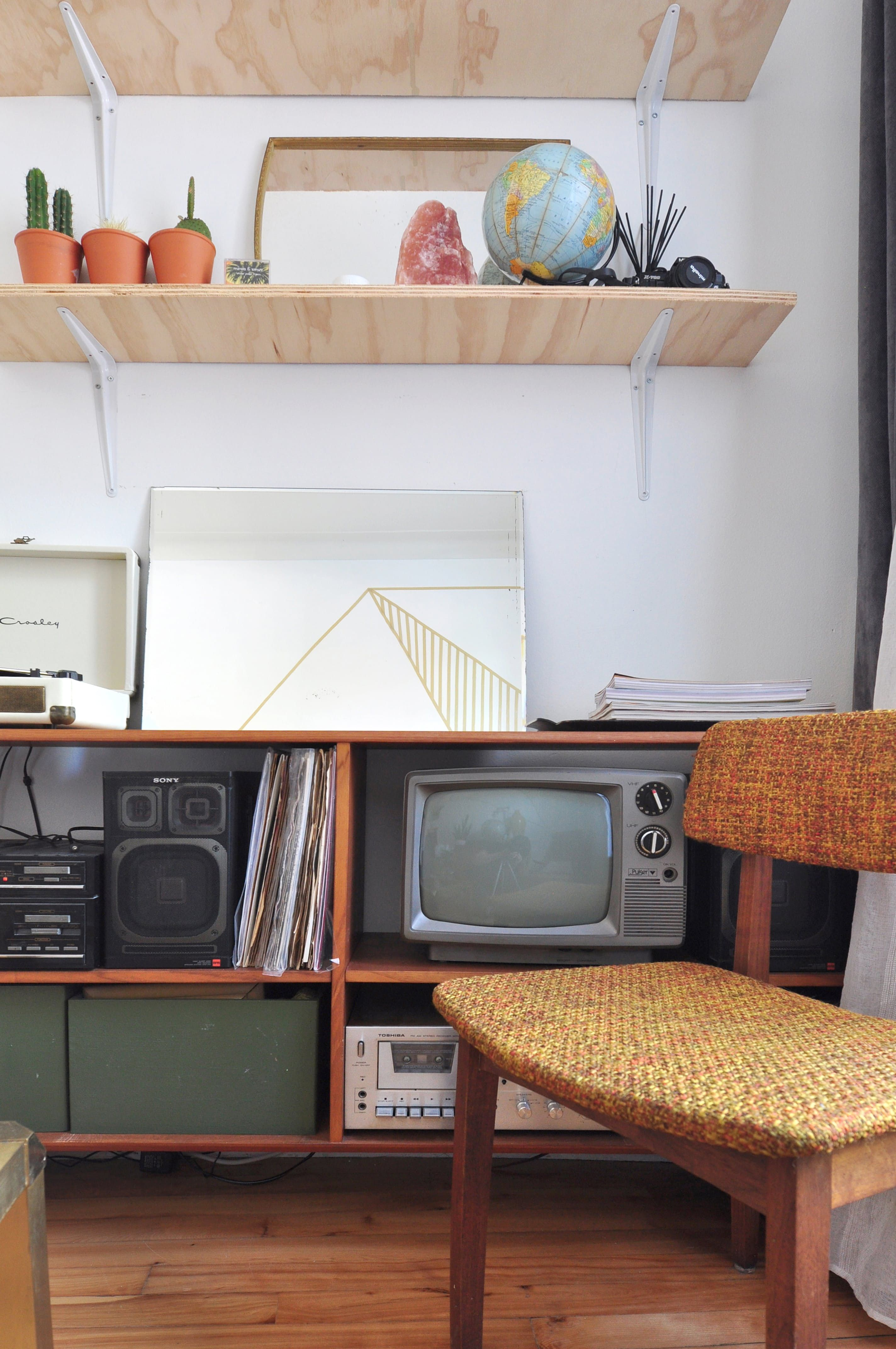 a sweet small space with a retro scandi modern mix in